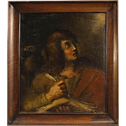 18th Century Italian Religious Painting Oil On Canvas St. John the Evangelist With Wooden Frame