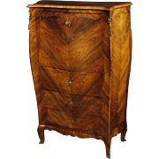 20th Century Italia Secrétaire Desk In Rosewood And Palisander Wood With We Bar Inside