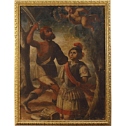 18th Century Antique Italian Religious Painting Oil On Canvas Martyrdom of Saint Alexander From Bergamo