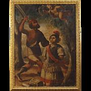 18th Century Antique Italian Religious Painting Oil On Canvas Martyrdom of Saint Alexander From Bergamo