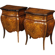 20th Century Pair Of Italian Inlaid Bedside Tables In Wood In Louis XV Style