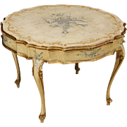 20th Century Venetian Living Room Coffee Table In Lacquered And Gilt Wood