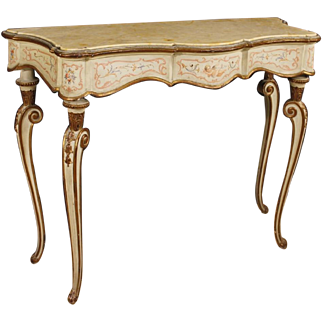 20th Century Italian Console Table In Lacquered, Painted, Gilt Wood With Marble Top