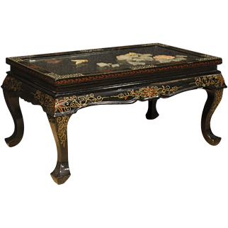20th Century French Coffee Table in Lacquered, Painted, Gilt Chinoiserie Wood With Soapstone Decorations