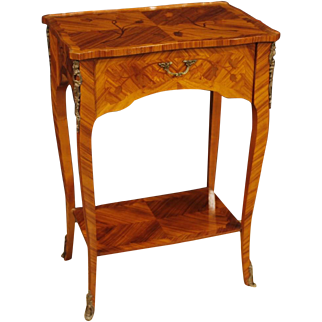 20th Century French Inlaid Side Table In Rosewood And Mahogany with 1 Drawer and Gilt Brass Decorations