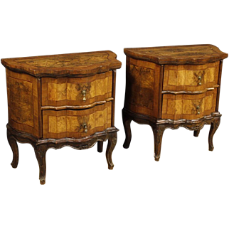 20th Century Pair Of Italian Dressers In Walnut, Burl, Rosewood With 2 Drawers