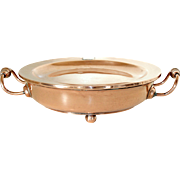 French Copper Plate Warmer with engraved Coat of Arms, Food Warmer, Serving Platter. Water Fill Copper Warming Stand.