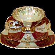 Vintage Trio Tea Set, Cup, Saucer & Side Plate. Quality Bavaria Porcelain, Baden Baden Coat of Arms