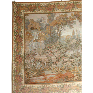 French Tapestry.  'The Watermill Garden' with Cherub Fountain.
