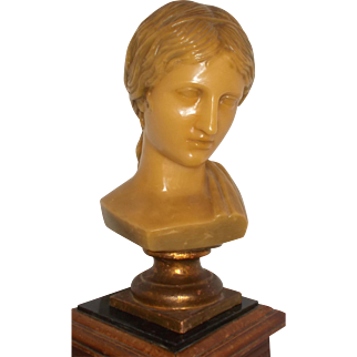 French Wax Head, Elegant French Woman Wax Sculpture