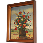 Framed Signed French Painting 1947.  Floral Painting of Meadow Flowers.  Poppies and Daisies.