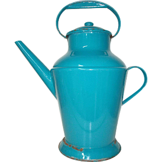 Fabulous Large Vintage French Hotel Room Water Kettle with Lid. Blue Enamel lidded Jug