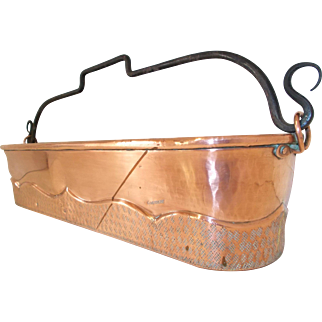 Signed French Copper Repoussé Fish Kettle, Herb Trough with Swing Handle
