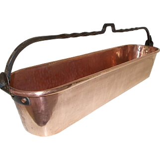 French Hammered Copper Fish Kettle, Herb Trough, Plant Pot, Window Sill Planter Trough with Swing Iron Handle