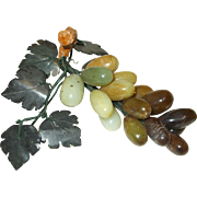 Fabulous Vintage Grape Cluster,  Semi Precious Stone Jade grapes, Hand Carved Leaves, Bunch of Grapes, Home Bar, Wine Collection