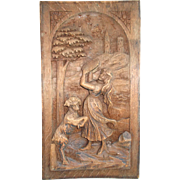 Hand Carved Wooden Panel, Dancing Girl playing the concertina with Dancing Lamb