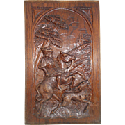 Hand carved wooden panel, Medieval Horseman Hunting Deer