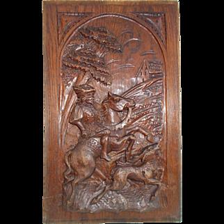 Hand carved wooden panel, Medieval Horseman Hunting Deer