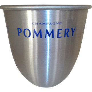 Contemporary Champagne Bucket* *Pommery Reims France* *Champagne Bucket* *Ice bucket, Wine Cooler Blue logo