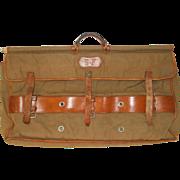 Vintage French Hunters Boot Bag. Garment Bag, sac de Chasse, Sac de Battue. Leather and Canvas Hunters Boot Bag.