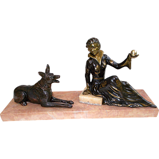 Elegant, Made in France, Art Deco Spelter Woman Figure with Dog Statue Sculpture. Marble Base