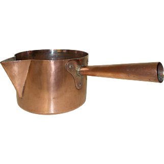 Large 20cm French Copper Sugar Pan, Copper Saucepan, Artisan Made Hammered Copper Confectionery Pan