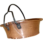 Unusual Antique French Jam Pan, Cheese Making Pan. Artisan Made Hammered Copper Preserve Pan with Pouring lip