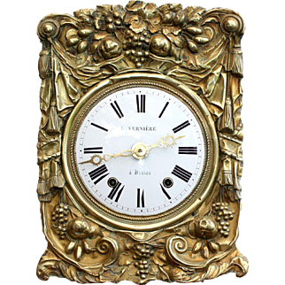 Antique French Comtoise Clock Movement, Chime, Enamel Face, Floral, Swags & Tails, Grapes Repoussé, Sunflowers
