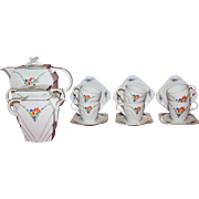 Epiag Royal Czechoslovakia Coffee, Tea Set / Coffee Pot, Sugar pot, Milk Jug, 6 Cups and Saucers \ Crocus & Forget-me-knots Pattern