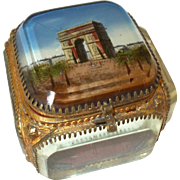 French Ormolu Jewelry Trinket Box, 'L'Arc De Triomphe' Paris Bevelled Glass Original Silk padded Cushion