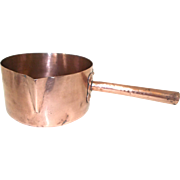 Large 20cm French Copper Sugar Pan, Antique Copper Saucepan, Artisan Made Hammered Copper Confectionery Pan