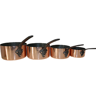 Set of 4 French Copper Saucepans, Hand Forged. A La Menagere PARIS. RARE! Over 100 years old. Hammered Copper