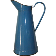Vintage French Blue Enamel Water Jug, Pichet. French Enamel Water Jug