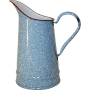 Sweet Little Vintage French Blue Enamel Kitchen Jug, Pichet. French Enamel Granite ware Speckled Blue & White Jug