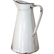 French Enamel Water Jug, Pichet. French Enamel Water Jug. White with Dark blue rim