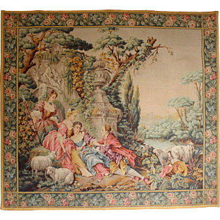 Exceptional Antique French, Hand Loomed Tapestry. c 1900.    57.5 x 52 inches