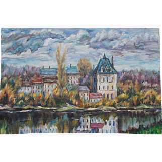 Unframed French Oil Painting. Signed Gaestel.  French Chateau River Scene.