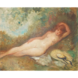 French Painting 'Nude'  Oil on Canvas.  Signed.