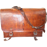 Large Leather EDF Workman's Bag, Vintage French Leather Satchel. large Heavy Leather Electrician's Tool Bag, Opens out for easy access
