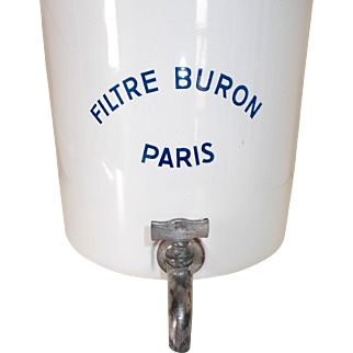 French Enamel Water Filter System. Filtre Buron PARIS. 1940's French water filter. White enamel, Blue writing