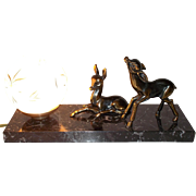 Vintage French Mood Lamp. Marble based Desk Light. Spelter Bambies Lamp on Marble Base. Patterned Glass Shade.