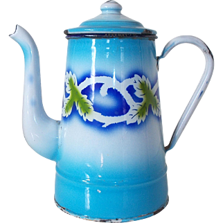 Vintage French Patterned Enamel Coffee Pot, Blue & White Enamel Graniteware
