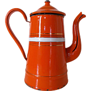 Retro Orange Stripe Vintage French Coffee Pot, Enamel Graniteware pot. 1950's/60's