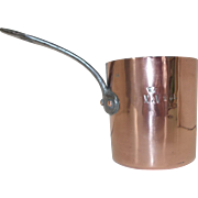 Antique French Tall Narrow Bain Marie Saucier. French Copper Saucepan Cookware. Monogram & Crown
