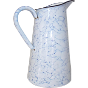 Enamel Blue & White Jug. Lovely Swirly Clouds. Vintage French Granite Enamel Jug