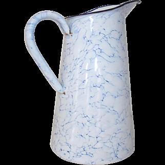 Enamel Blue & White Jug. Lovely Swirly Clouds. Vintage French Granite Enamel Jug