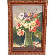 Gorgeous Signed French Framed Oil Painting. Vase of Flowers with bird. Signed Gironnet