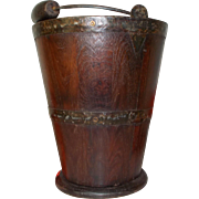 French Wooden Ice Bucket with Swing Handle. Winery Tonneau Wine Bucket