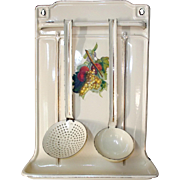 French 3 piece Enamel Kitchen Tool Rack, Jam Making Utensil Holder, Ladle & Skimmer for making your preserves