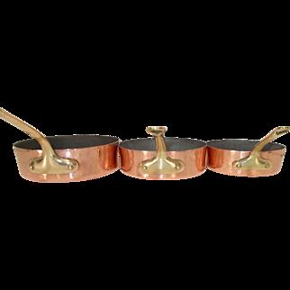 Set of 3 Copper Skillets. French Copper Cookware by ML Villedieu - Sauté pan, Frying pan, Skillets. Small Dessert pans